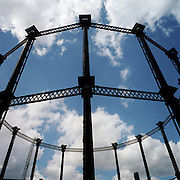 Victorian gasometer at Kings Cross. London. United Kingdom 2003