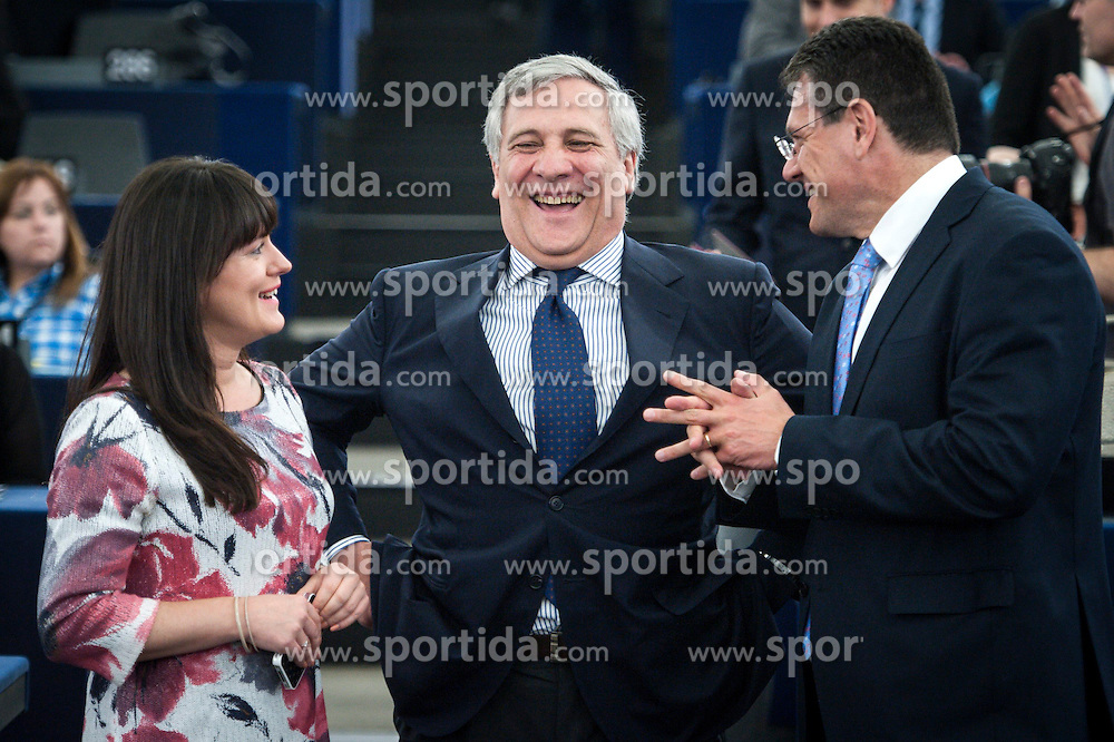 Italian MEP Antonio Tajani (C) laugh as waiting for Italy's Prime Minister Matteo Renzi's speach in front of European Parliament during the second day of plenary session at the European Parliament headquarters in Strasbourg, France on 02.07.2014 Italy starts its six-month term as member state in charge of the Presidency of the European Council. EXPA Pictures &copy; 2014, PhotoCredit: EXPA/ Photoshot/ Wiktor Dabkowski<br /> <br /> *****ATTENTION - for AUT, SLO, CRO, SRB, BIH, MAZ only*****