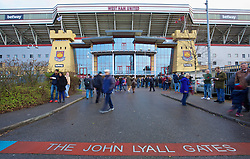 LONDON, ENGLAND - Saturday, January 2, 2016: West Ham United's John Lyall Gate outside Upton Park before the Premier League match between Liverpool and West Ham United. (Pic by David Rawcliffe/Propaganda)