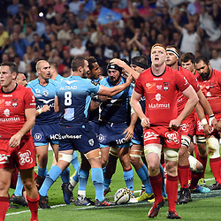 Alexandre Dumoulin of Montpellier celebrates his try with Team during the Top 14 semi final match between Montpellier Herault Rugby and Lyon on May 25, 2018 in Lyon, France. (Photo by Alexandre Dimou/Icon Sport)