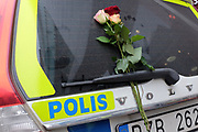© Licensed to London News Pictures. STOCKHOLM. SWEDEN. People lay flowers at the scene of yesterday's attack in Stockholm where a lorry mowed down several people in an apparent terrorist attack. Photo credit : Stephen Simpson/LNP