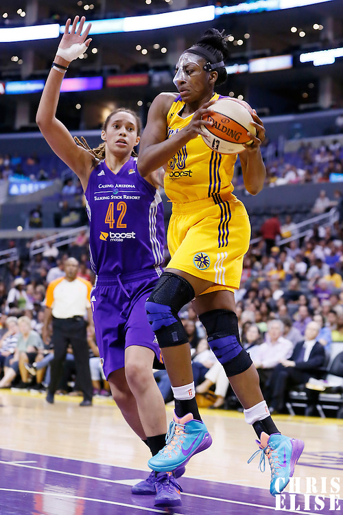 24 July 2014: Los Angeles Sparks forward Nneka Ogwumike (30) grabs the rebound off Phoenix Mercury center Brittney Griner (42) during the Phoenix Mercury 93-73 victory over the Los Angeles Sparks, at the Staples Center, Los Angeles, California, USA.