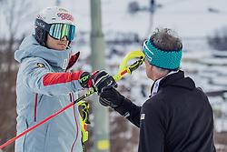 "29.01.2019, Planai, Schladming, AUT, FIS Weltcup Ski Alpin, Slalom, Herren, Streckenbesichtigung, im Bild Loic Meillard (SUI) mit Trainer // Loic Meillard of Switzerland with his Coach during course inspection for the men's Slalom ""the Nightrace"" of FIS ski alpine world cup at the Planai in Schladming, Austria on 2019/01/29. EXPA Pictures © 2019, PhotoCredit: EXPA/ Dominik Angerer"