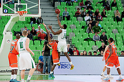 Alex Stephenson #33 of KK Union Olimpija Ljubljana during basketball match between KK Union Olimpija Ljubljana and Banvit B.K. (TUR) in 4th Round of EuroCup LAST 32 2013/14 on January 22, 2014 in Arena Stozice, Ljubljana, Slovenia. Photo by Urban Urbanc / Sportida