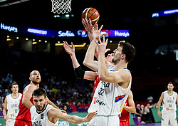 Akos Keller of Hungary vs Ognjen Kuzmic of Serbia during basketball match between National Teams of Serbia and Hungary at Day 11 in Round of 16 of the FIBA EuroBasket 2017 at Sinan Erdem Dome in Istanbul, Turkey on September 10, 2017. Photo by Vid Ponikvar / Sportida