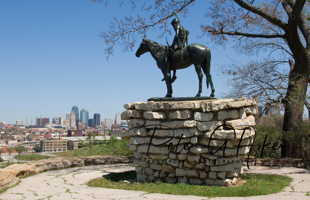 The Scout stands on the edge of The Penn Valley Park overlooking Kansas City, Missouri.