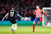 Atletico Madrid's French defender Lucas Hernandez controls the bal during the Spanish Cup, Copa del Rey quarter final, 1st leg football match between Atletico Madrid and Sevilla FC on January 17, 2018 at Wanda Metropolitano stadium in Madrid, Spain - Photo Benjamin Cremel / ProSportsImages / DPPI