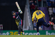 Kent Batsman Joe Denly hits a boundary off of the bowling of Hampshire T20 all-rounder Darren Sammy during the NatWest T20 Blast South Group match between Hampshire County Cricket Club and Kent County Cricket Club at the Ageas Bowl, Southampton, United Kingdom on 2 June 2016. Photo by David Vokes.