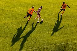 James McClean of Stoke City takes on Matt Doherty of Wolverhampton Wanderers as they cast long shadows - Mandatory by-line: Robbie Stephenson/JMP - 25/07/2018 - FOOTBALL - Bet365 Stadium - Stoke-on-Trent, England - Stoke City v Wolverhampton Wanderers - Pre-season friendly