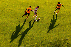 James McClean of Stoke City takes on Matt Doherty of Wolverhampton Wanderers as they cast long shadows - Mandatory by-line: Robbie Stephenson/JMP - 25/07/2018 - FOOTBALL - Bet365 Stadium - Stoke-on-Trent, England - Stoke City v Wolverhampton Wanderers - Pre-season friendly