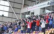 Dundee fans get behind their team - Motherwell v Dundee, SPFL Premiership at Fir Park<br /> <br />  - &copy; David Young - www.davidyoungphoto.co.uk - email: davidyoungphoto@gmail.com