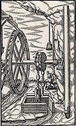 A rag-and-chain pump powered by an overshot water wheel being used to drain a mine.  On the right is a detail of the tube of the pump. From 'De re metallica', by Agricola, pseudonym of Georg Bauer (Basle, 1556).  Woodcut.