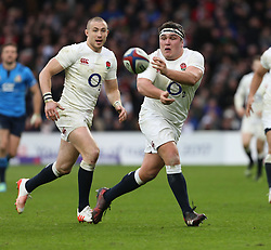 26 February 2017 : 6 Nations Rugby : England v Italy :<br /> Jamie George sets up an England attack, watched by Mike Brown.<br /> Photo: Mark Leech