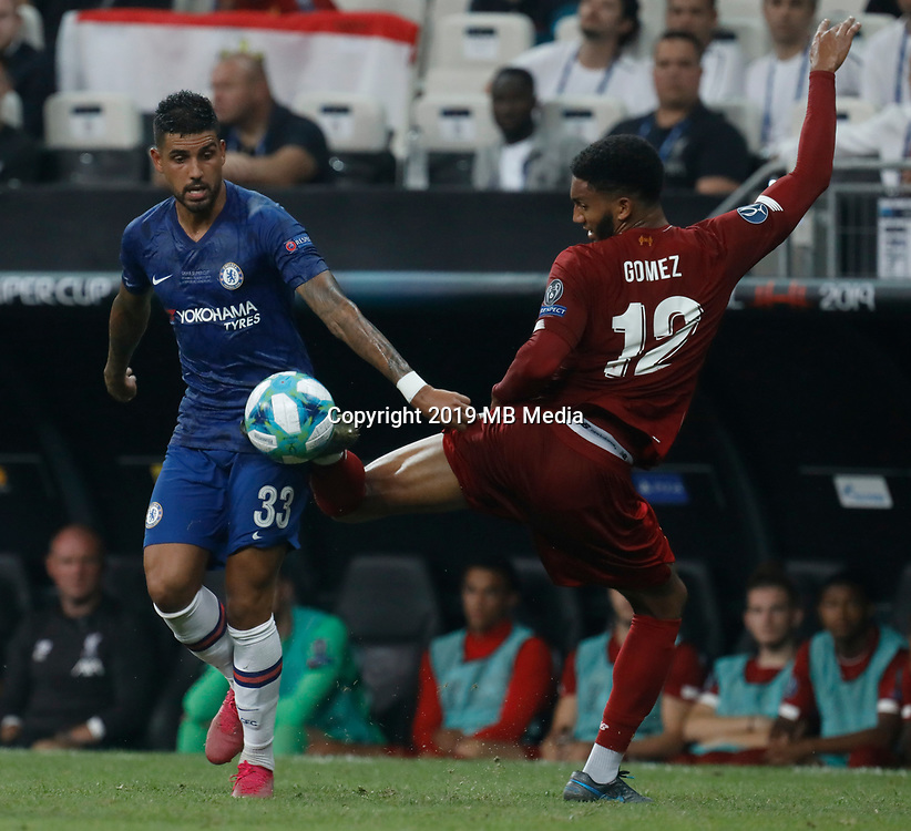 ISTANBUL, TURKEY - AUGUST 14: Joe Gomez (R) of Liverpool and Emerson Palmieri of Chelsea vie for the ball during the UEFA Super Cup match between Liverpool and Chelsea at Vodafone Park on August 14, 2019 in Istanbul, Turkey. (Photo by MB Media/Getty Images)