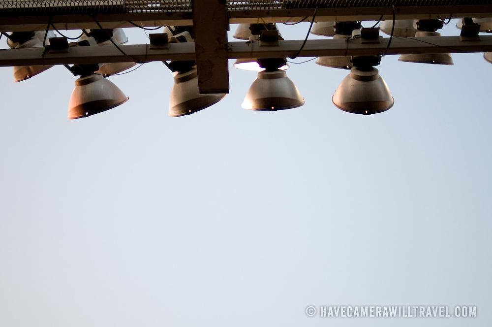 Lights at Yankee Stadium, the Bronx, New York City. New York Yankees playing the Baltimore Oreoles.