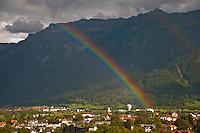Berner Oberland, Switzerland.  A double rainbow across the valley at Interlaken.