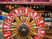 05 OCTOBER 2014 - GEORGE TOWN, PENANG, MALAYSIA:  Detail photo of a wheel on a cart before a procession honoring Durga in George Town during the Navratri procession. Navratri is a festival dedicated to the worship of the Hindu deity Durga, the most popular incarnation of Devi and one of the main forms of the Goddess Shakti in the Hindu pantheon. The word Navaratri means 'nine nights' in Sanskrit, nava meaning nine and ratri meaning nights. During these nine nights and ten days, nine forms of Shakti/Devi are worshiped.   PHOTO BY JACK KURTZ