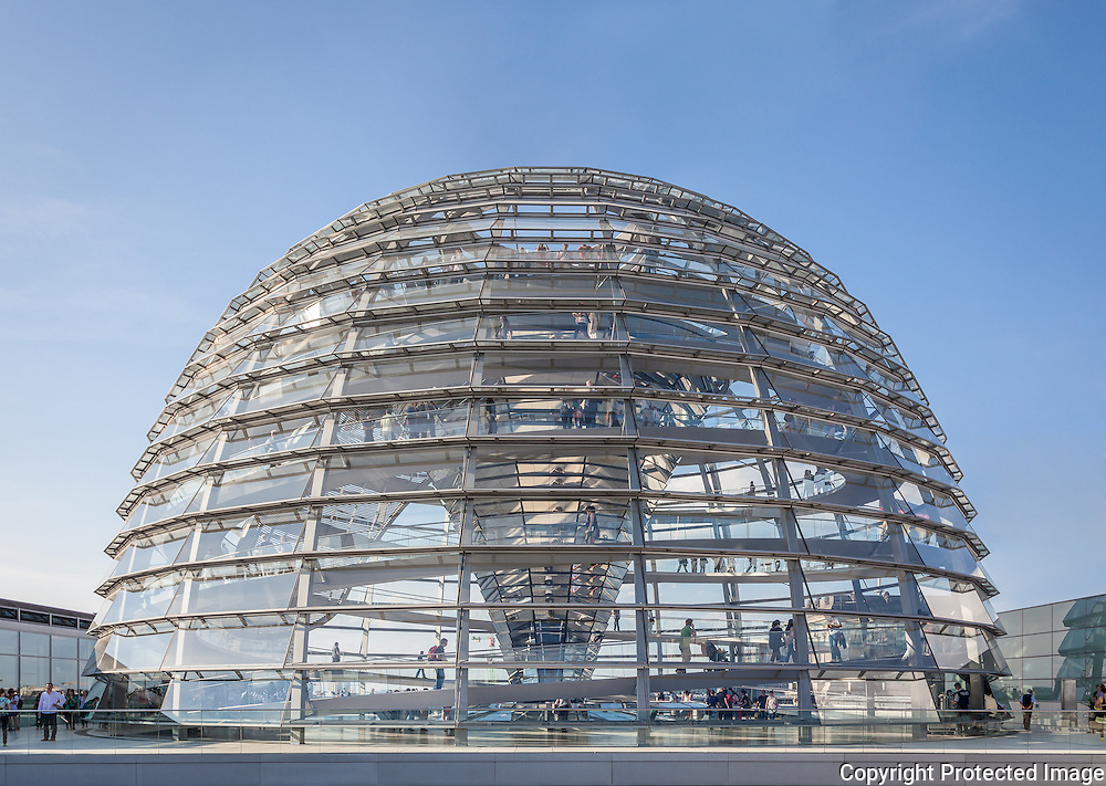 Reichstag Dome exterior, Berlin, Germany. July 2013. Architect: Norman Foster