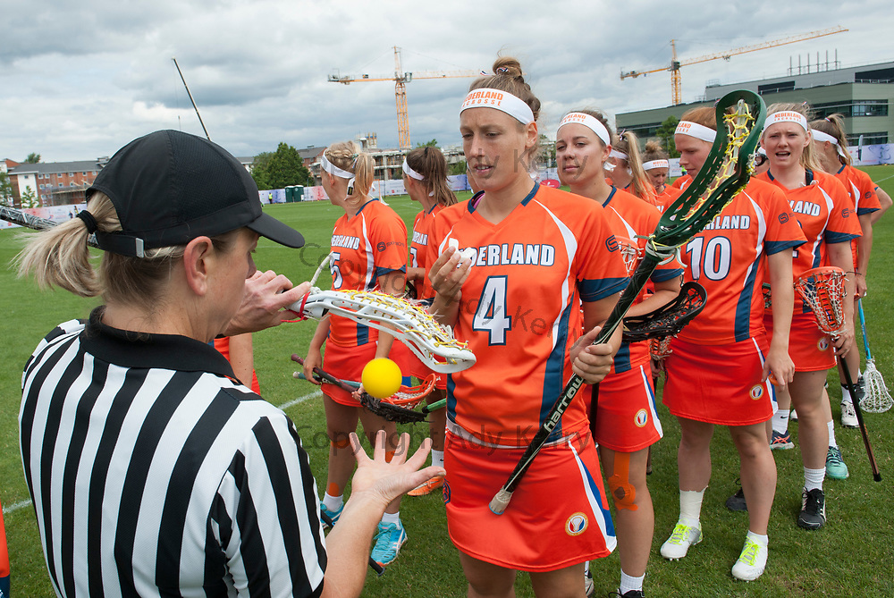 Netherlands' Dieke Splitzen has her stick checked prior to the game against Belgium at the 2017 FIL Rathbones Women's Lacrosse World Cup, at Surrey Sports Park, Guildford, Surrey, UK, 14th July 2017.