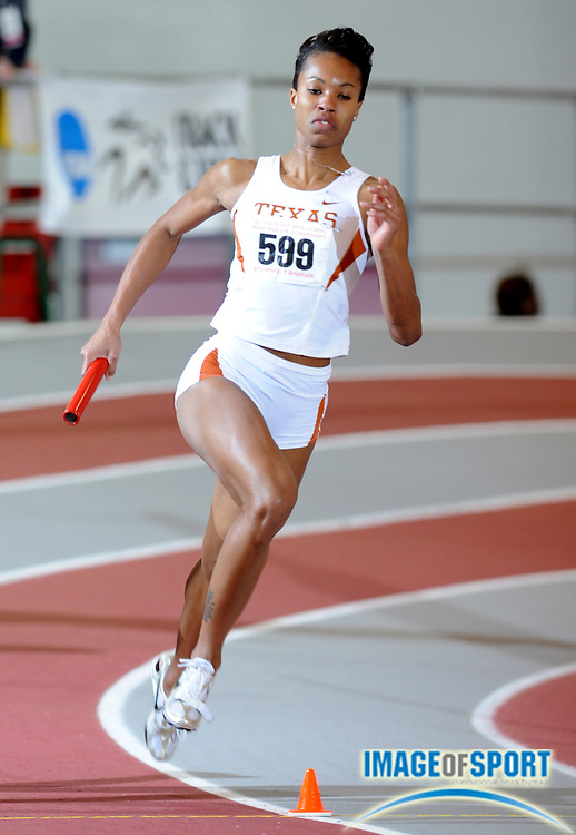 Mar 15, 2008; Fayetteville, AR, USA; Alexandria Anderson runs the opening leg on Texas women's 4 x 400m relay that placed fourth in 3:33.69 in the NCAA indoor track and field championships at the Randal Tyson Center.