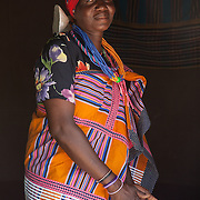 Venda woman wearing traditional dress in her village in South Africa.