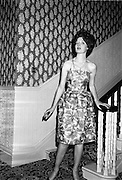 12/09/1962<br /> 09/12/1962<br /> 12 September 1962<br /> Fashion: Veronica Jaye Autumn/Winter collection 1962 fashion show at the Northbrook Hotel, Dublin. Floral chiffon short evening dress worn by Helen.