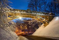 Snow Covered Devil`s Bridge in Winter, Tartu