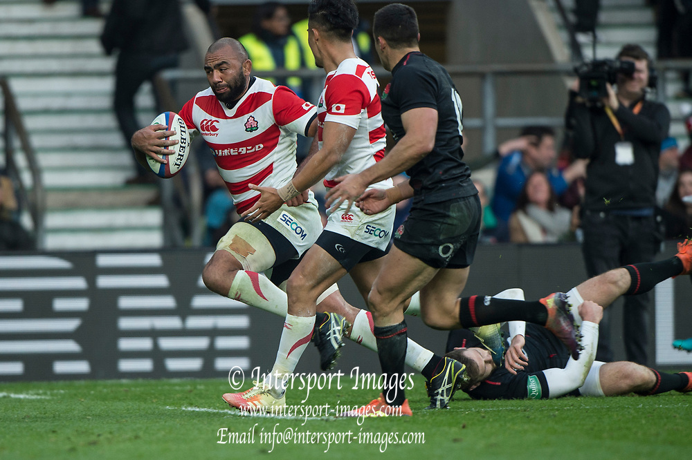 Twickenham, United Kingdom, Saturday, 17th  November 2018, RFU, Rugby, Stadium, England, Michael LEITCH, running with the ball, during the Quilter Autumn International, England vs Japan, © Peter Spurrier