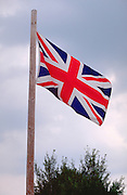 British flag blowing in the wind.  Danbury  Wisconsin USA