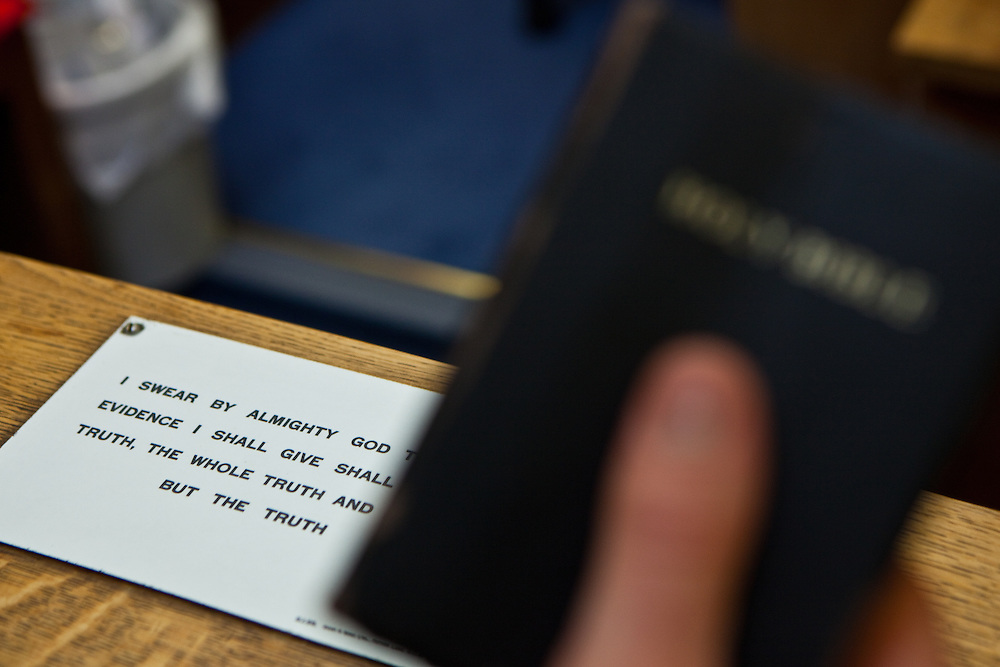 The bible and standard Christian oath used by witnesses and defendants in court rooms in England.