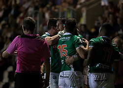 Benetton Treviso's Alessandro Zanni celebrates scoring his sides third try<br /> <br /> Photographer Simon King/Replay Images<br /> <br /> Guinness PRO14 Round 1 - Dragons v Benetton Treviso - Saturday 1st September 2018 - Rodney Parade - Newport<br /> <br /> World Copyright © Replay Images . All rights reserved. info@replayimages.co.uk - http://replayimages.co.uk