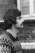 05/04/1978.04/05/1978.5th April 1978.Photograph of one of the student spokesman, Patrick Deroe, a 3rd, year student of architecture at Bolton St. College, sends a message out from the group involved in the Molesworth sit-in protest.