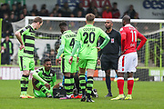 Forest Green Rovers Ethan Pinnock(16) injured during the Vanarama National League match between Forest Green Rovers and Wrexham FC at the New Lawn, Forest Green, United Kingdom on 18 March 2017. Photo by Shane Healey.