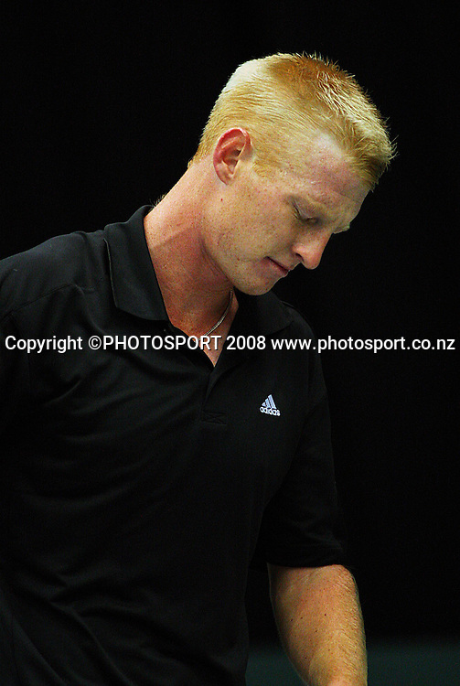 Daniel King-Turner shows frustration during the first set against Yan Bai.<br /> Davis Cup Tennis singles, final day - New Zealand v China at TSB Stadium, New Plymouth, New Zealand. Sunday, 21 September 2008. Photo: Dave Lintott/PHOTOSPORT