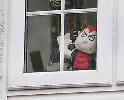 © Licensed to London News Pictures. 04/11/2017. London, UK. A Halloween themed devil soft toy is seen in an upstairs house (C) in Wimbledon where a seven year old girl was found seriously injured on Friday and has since died. Robert Peters appeared at Wimbledon Magistrates' Court on Saturday and was charged with attempted murder.  Photo credit: Peter Macdiarmid/LNP