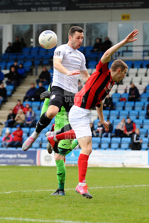 TELFORD COPYRIGHT MIKE SHERIDAN Aaron Williams of Telford battles for a header during the Vanarama Conference North fixture between AFC Telford United and Kettering at The New Bucks Head on Saturday, March 14, 2020.<br /> <br /> Picture credit: Mike Sheridan/Ultrapress<br /> <br /> MS201920-050
