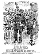"""In The Basement. Scene - Fritz's Universal Domestic Stores. Inspector John Bull. """"What's all this?"""" Shopwalker. """"Oh, they're only toys - they won't go off."""" Inspector John Bull. """"Oh, won't they? Well, neither shall I."""" [Owing to the recent discovery of secret manufactories of arms in Germany the Conference of Allied Ambassadors has decided that the evacuation of the Cologne bridge-head, originally arranged for January 10th, must be deferred.]"""