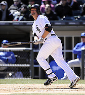 CHICAGO - APRIL 03:  Paul Konerko #14 the Chicago White Sox bats against the Kansas City Royals on April 3, 2013 at U.S. Cellular Field in Chicago, Illinois.  The White Sox defeated the Royals 5-2.  Ramirez was charged with an error on the play.(Photo by Ron Vesely)   Subject: Paul Konerko