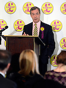 © Licensed to London News Pictures. 26/04/2012. London, UK . Nigel Farage MEP and leader of UKIP. The UK Independence Party (UKIP) local election campaign launch at St Stephen's Club, Central London. Photo credit : Stephen Simpson/LNP