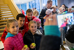 Aljaz Bedene and Tom Kocevar Desman posing with young fans after the friendly football match between NK Fantazisti (SLO) and 1st TFC - First Tennis & Football Club (AUT) presented by professional and former tennis players, on November 25, 2017 in Nacionalni nogometni center Brdo pri Kranju, Slovenia. Photo by Vid Ponikvar / Sportida