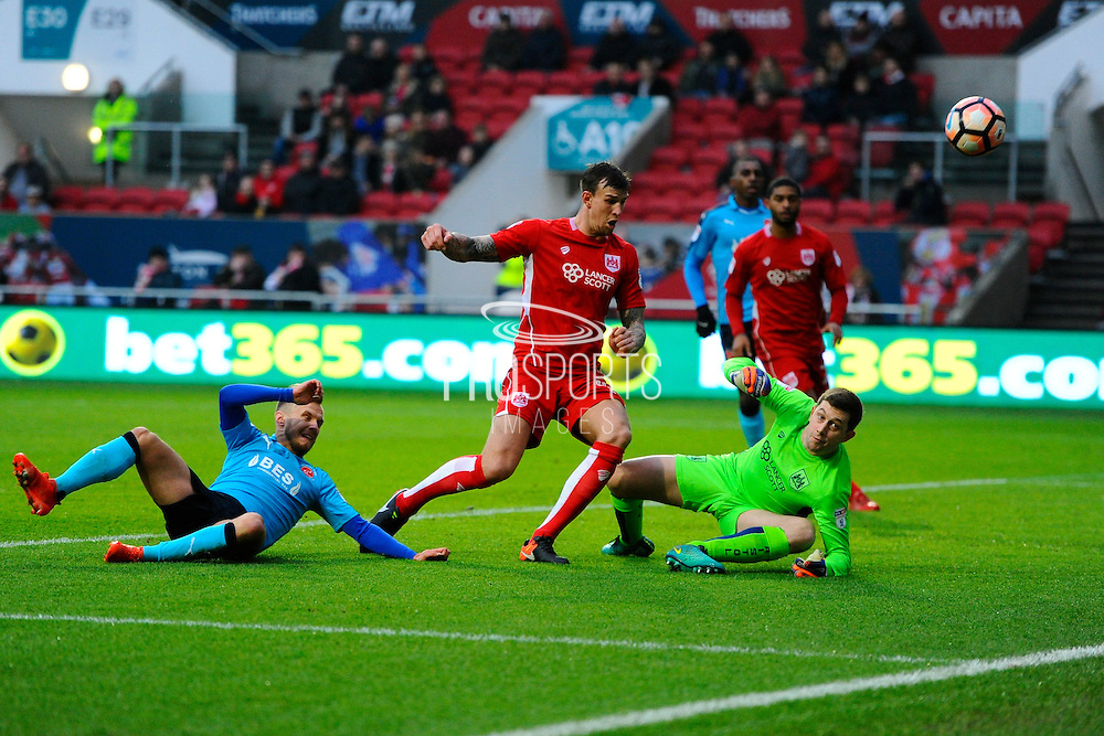 Frank Fielding (1) of Bristol City makes a save during the The FA Cup match between Bristol City and Fleetwood Town at Ashton Gate, Bristol, England on 7 January 2017. Photo by Graham Hunt.