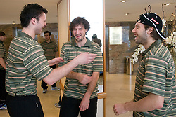 Sabahudin Kovacevic, Ales Kranjc and Rok Ticar at meeting of Slovenian Ice-Hockey National team, on April 15, 2010, in Hotel Lev, Ljubljana, Slovenia.  (Photo by Vid Ponikvar / Sportida)