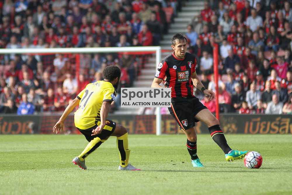 Charlie Daniels passes the ball During Bournemouth vs Watford on Saturday 3rd of October 2015.