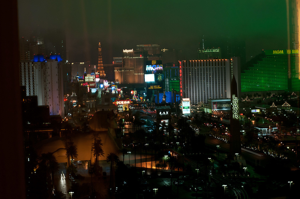 View of Las Vegas strip at night with winter storm from Mandalay Bay hotel room