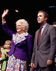Former first lady Barbara Bush, wife of former President George H.W. Bush and mother of former President George W. Bush, died Tuesday at her home in Houston. She was 92. Barbara Bush had been in failing health, suffering from congestive heart failure and chronic obstructive pulmonary disease. George and Barbara, who celebrated their 73rd wedding anniversary on Jan. 6, hold the record for the longest-married presidential pair. Mrs. Bush was known for her wit and emphasis on family. One of her primary causes was literacy. She founded the Barbara Bush Foundation for Family Literacy in 1989 to carry forth her legacy in the cause for literacy. PICTURED: Aug. 18, 2000 - Houston, Texas, U.S. - BARBARA BUSH and GEORGE W. BUSH at the Republican Convention..(Credit Image: © Chris Kleponis/ZUMAPRESS.com)