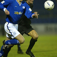 St Johnstone v Clyde..08.11.03<br />Chris Hay and Andy Millen<br /><br />Picture by Graeme Hart.<br />Copyright Perthshire Picture Agency<br />Tel: 01738 623350  Mobile: 07990 594431