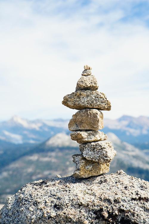 Rock stack cairn Yosemite National Park, California