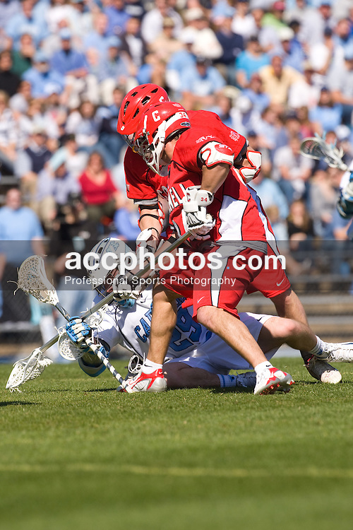 02 March 2008: North Carolina Tar Heels attackman Michael B. Burns (29) (Garden City, NY) during a 13-8 win over the Cornell Big Red on Fetzer Field in Chapel Hill, NC.