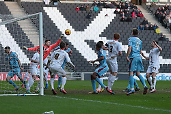 Milton Keynes Dons' David Martin punches clear - Photo mandatory by-line: Nigel Pitts-Drake/JMP - Tel: Mobile: 07966 386802 01/02/2014 - SPORT - FOOTBALL - Stadium MK - Milton Keynes - MK Dons v Tranmere Rovers - Sky Bet League One