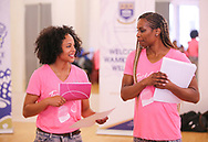 CAPE TOWN, SOUTH AFRICA - MARCH 10: Traci-lee Hendricks (18) of Portlands High School with Mechelle Lewis Freeman during the TrackGirlz events at University of Western Cape on March 10, 2018 in Cape Town, South Africa. (Photo by Roger Sedres/ImageSA)